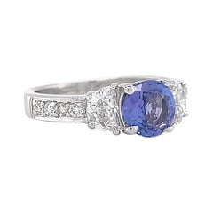 Contemporary Tanzanite Diamond 18 Karat White Gold Ring