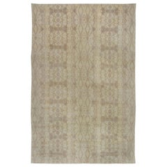 Contemporary Taupe and Beige Hand Knotted Wool Rug