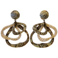 Contemporary Architectural Taupe Leaf-like Statement Earrings
