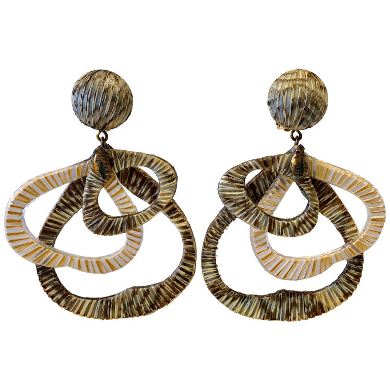 Contemporary Architectural Taupe Leaf-like Statement Earrings  For Sale