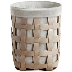 Contemporary Taupe Woven Leather Medium Hook Laundry Basket