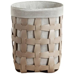 Contemporary Taupe Woven Leather Pinetti Medium Hook Laundry Basket
