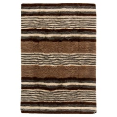 Contemporary Taurus Collection Striped Brown & White Hand Knotted Goat Hair Rug