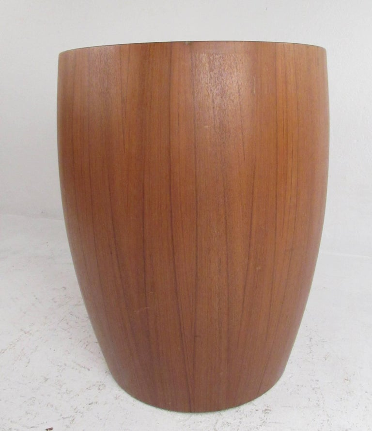 Modern Contemporary Teak Pedestal or End Table For Sale