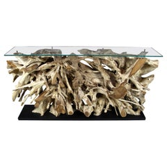 Contemporary Teak Root Console / Sideboard with Safety Glass Top, Organic Modern