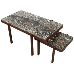 Contemporary Terrazzo Table with Corroded Steel Construction
