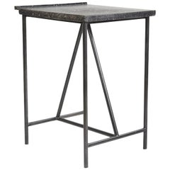Contemporary Geometric Table with Terrazzo Top and Steel Frame