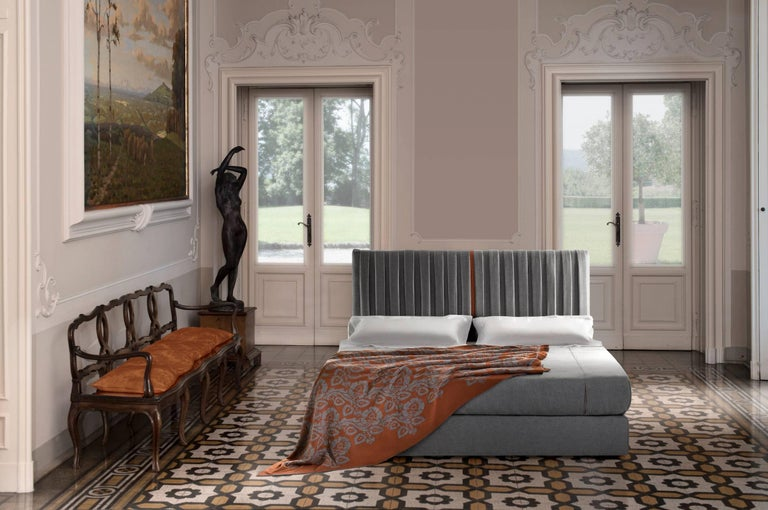 Italian Contemporary Bed, Pure Cashmere, Handmade in Italy, Customizable For Sale