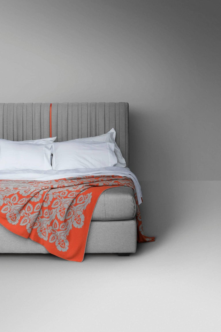 Modern Contemporary Bed, Pure Cashmere, Handmade in Italy, Customizable For Sale