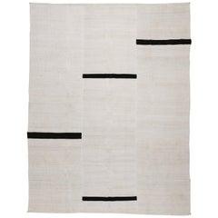 Contemporary Textural Hemp Minimalist Design Kilim Rug