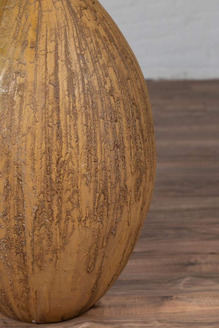 Contemporary Thai Handmade Ceramic Vase with Tapered Spout and Mustard Glaze For Sale 3