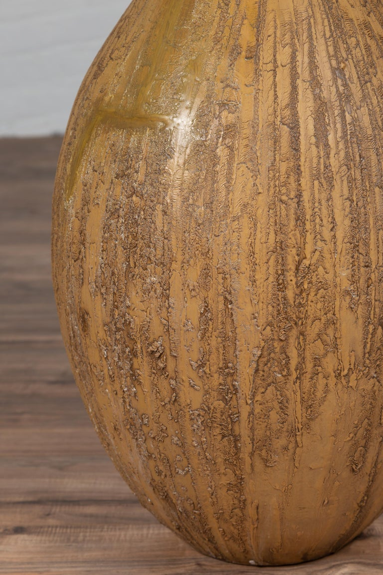 Contemporary Thai Handmade Ceramic Vase with Tapered Spout and Mustard Glaze For Sale 4