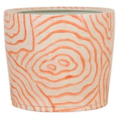Contemporary Thai Salmon Colored Flower Vase with Stripes and Pure Lines