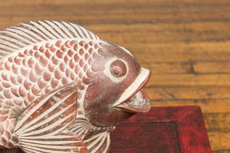 Contemporary Thai Terracotta Fish Sculpture with Brown Accents and Curving Fin For Sale 1