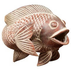 Contemporary Thai Terracotta Fish Sculpture with Brown Accents and Curving Fin