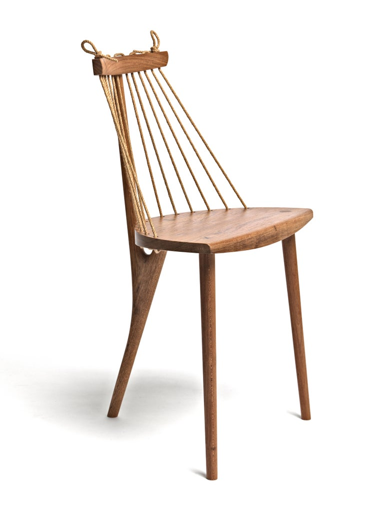 Hand-Crafted Contemporary Three Legged Chair in Brazilian Hardwood by Ricardo Graham Ferreira For Sale