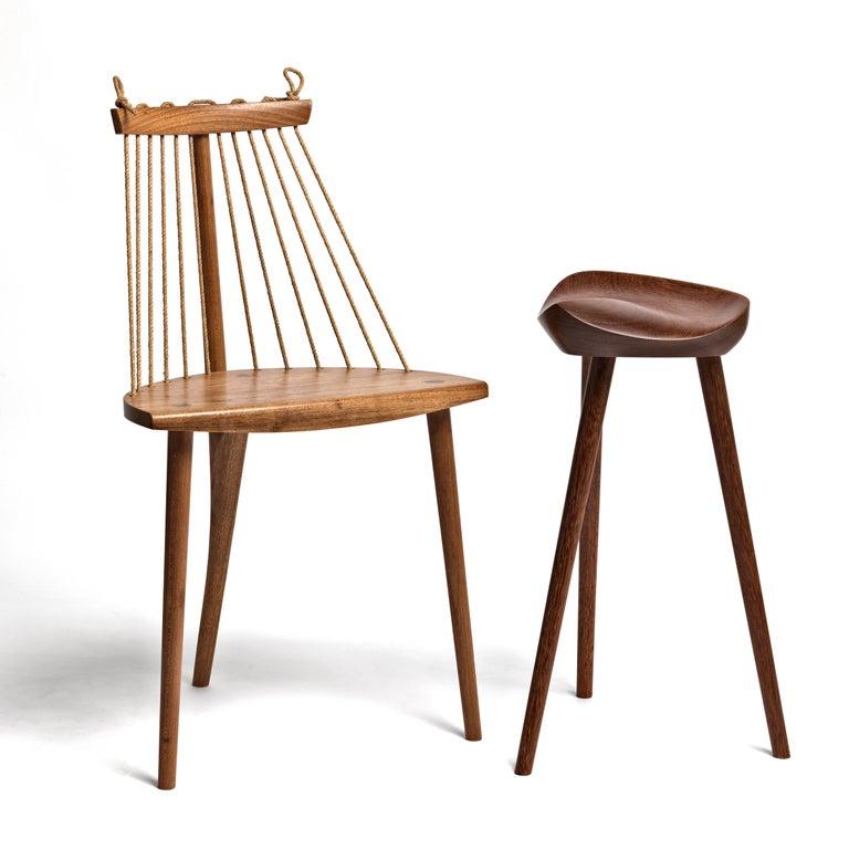 Contemporary Three Legged Chair in Brazilian Hardwood by Ricardo Graham Ferreira For Sale 5