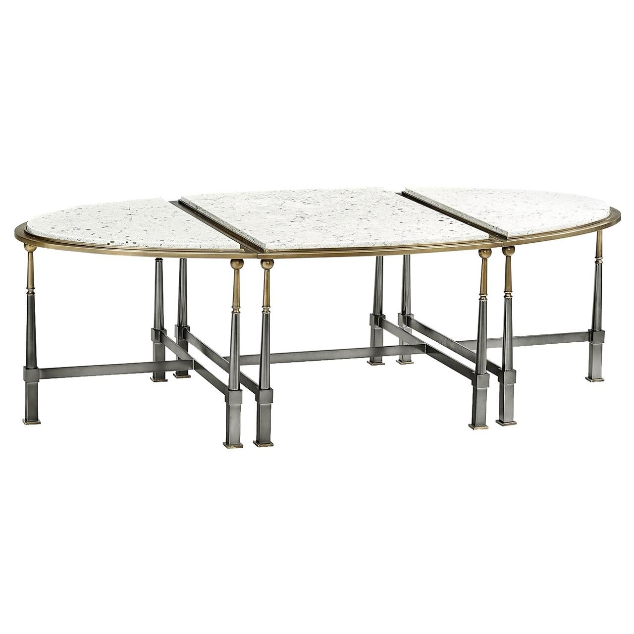 Contemporary Three-Piece Brass Coffee with Marble Top