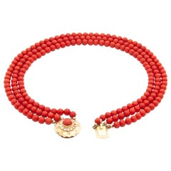 Contemporary Multi-Strand Naturel Coral 14 Karat Rose Gold Beaded Necklace
