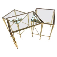 Contemporary Three Tops Brass Side Table with Insects and Snakes Sculptures