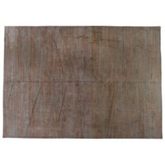Contemporary Tibetan Style Grey and Copper Area Rug