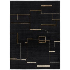 Contemporary Tibetan Rug Hand-Knotted in Nepal, Black, Gold