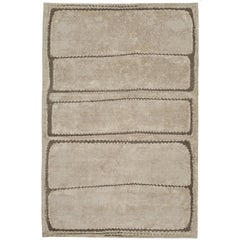 Contemporary Tibetan Rug Hand-Knotted in Nepal, Grey Beige - Brown, White