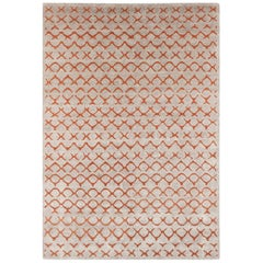 Contemporary Tibetan Rug hand-knotted in Nepal, Light Beige - Brown, Orange