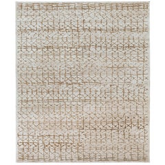Contemporary Tibetan Rug Hand-Knotted in Nepal, Light Grey, Hemp