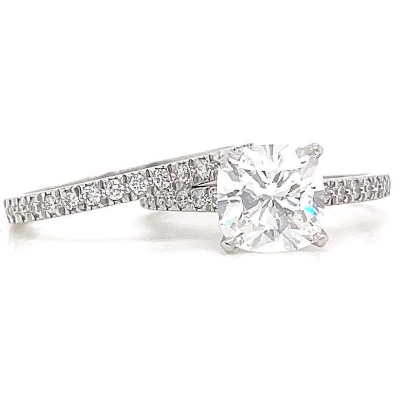 Cushion Cut Contemporary Tiffany & Co. 2.01 Carat Diamond Platinum Solitaire Wedding Set For Sale