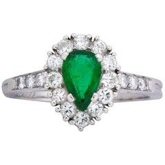 Contemporary Tiffany & Co. Emerald Diamond and Platinum Ring
