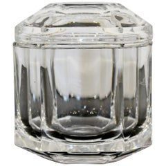 Contemporary Tiffany & Co Signed Crystal Glass Lidded Jar Vessel Table Sculpture