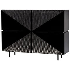 Modern 4 Doors High Sideboard Wine Rack in Black Lacquer
