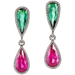 Contemporary Tourmaline Dangle Earrings in White Gold and Diamonds