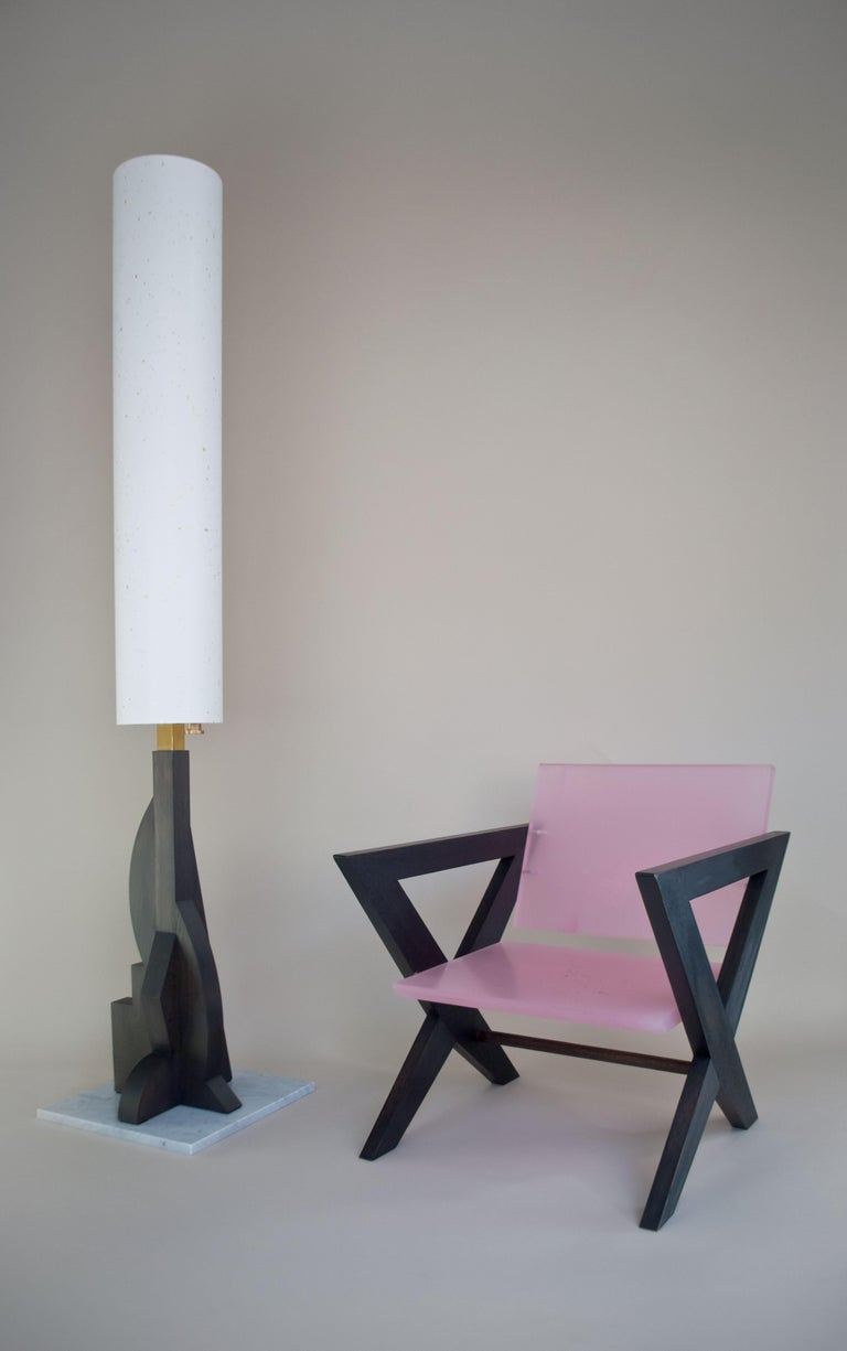 Polished Contemporary Tower Floor Lamp with Geometric Oak Base and Japanese Paper Shade For Sale