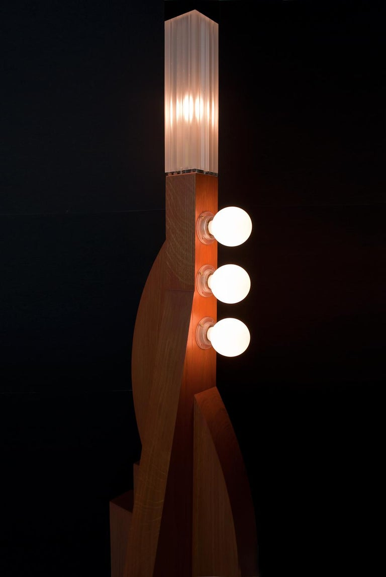 Stained Contemporary Tower Floor Lamp with Terracotta Geometric Oak Base & Frosted shade For Sale