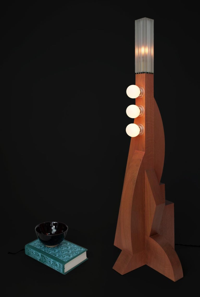 Contemporary Tower Floor Lamp with Terracotta Geometric Oak Base & Frosted shade For Sale 1