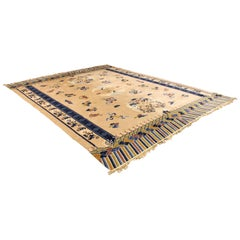 Contemporary Traditional Modernist Massive Silk Rectangular Area Rug Carpet Blue