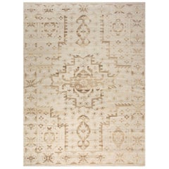 Contemporary Traditional Oriental Inspired Beige Hand Knotted Wool Rug