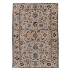 Contemporary Traditional Oriental Inspired Blue, Salmon Pink and Beige Wool Rug