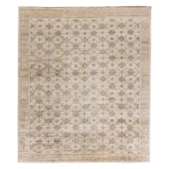 Contemporary Traditional Oriental Inspired Samarkand Hand Knotted Wool Rug
