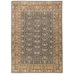 Contemporary Traditional Oriental Inspired Sandy, Gold and Dusty Blue Wool Rug