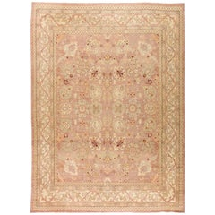 Contemporary Traditional Oriental Inspired Tabriz Warm Beige Handwoven Wool Rug