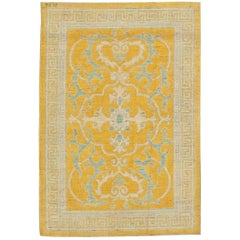 Contemporary Traditional Oriental Inspired Yellow, Beige and Gray Wool Rug