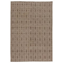 Contemporary Traditional Samarkand Light Brown and Black Wool Rug