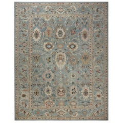 Contemporary Traditional Sultabad Design Blue, Brown, Red and White Wool Rug