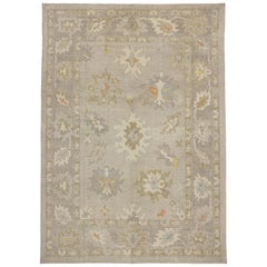 Contemporary Transitional New Turkish Oushak Area Rug with Neutral, Warm Colors