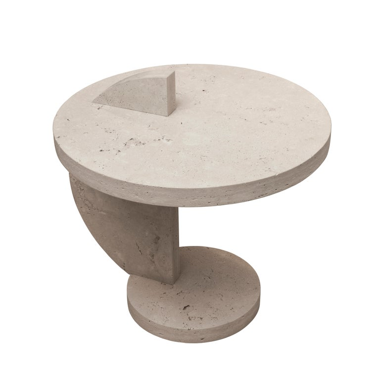 American Contemporary Travertine Side Table by Alex P White For Sale
