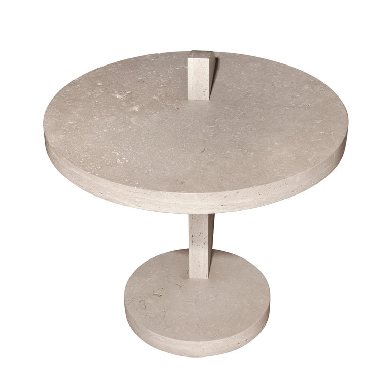 Hand-Crafted Contemporary Travertine Side Table by Alex P White For Sale