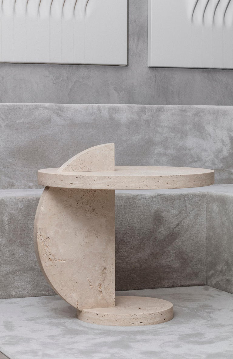 Contemporary Travertine Side Table by Alex P White In New Condition For Sale In Brooklyn, NY